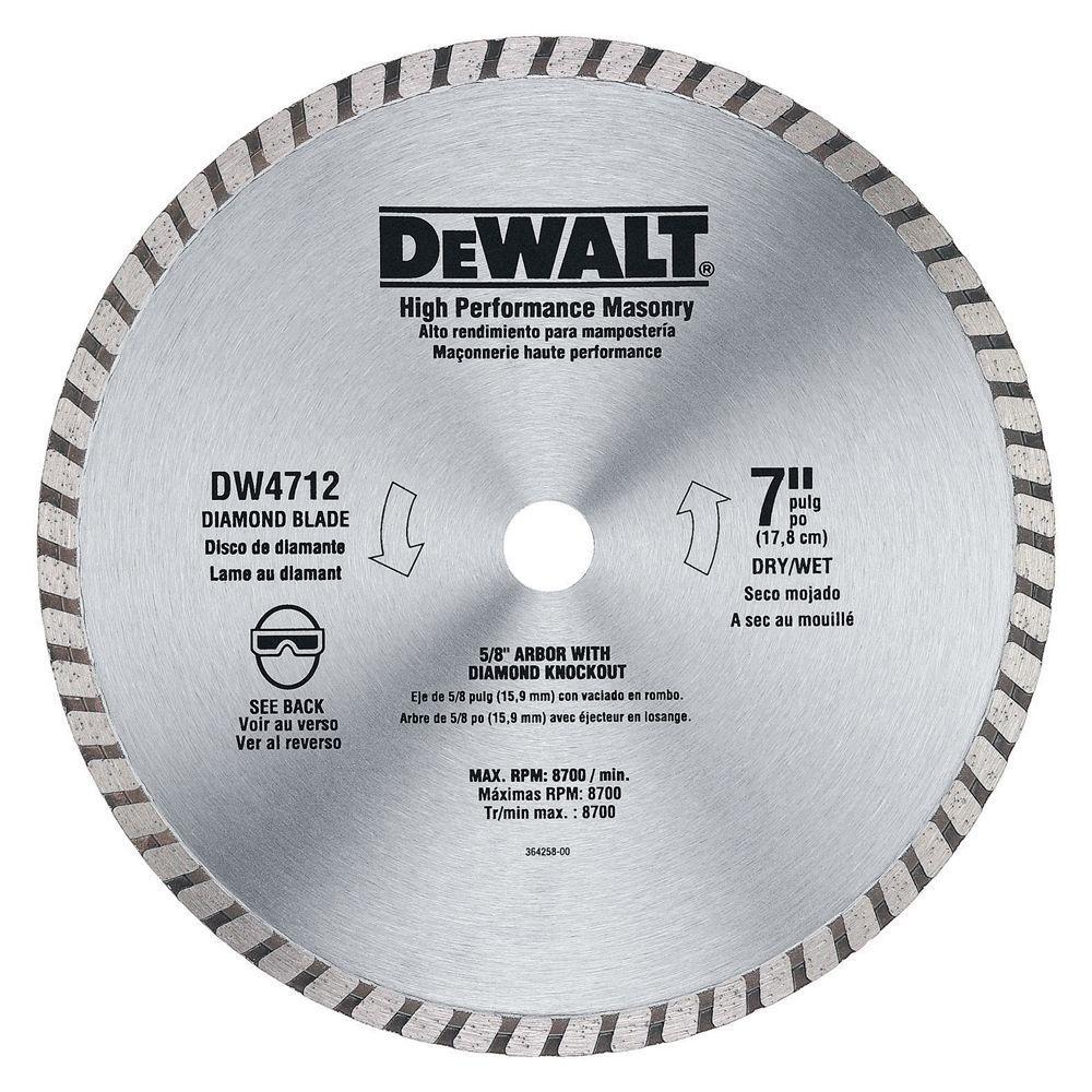 Dewalt 7 In High Performance Diamond Masonry Blade Dw4712 The Home Depot