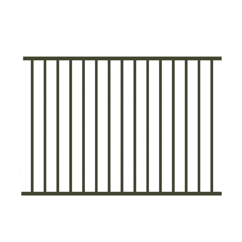 Allure Aluminum 4 ft. H x 6 ft. W Aluminum Bronze Unassembled Metropolitan 2-Rail Fence Section (4-Pack)