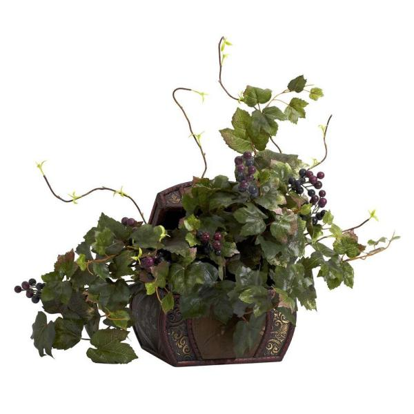 Nearly Natural 20 in. H Green Grape Leaf and Chest Silk Plant