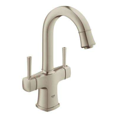 Grandera Deck-Mount 4 in. Centerset Single Hole 2-Handle High Arc Bathroom Faucet in Brushed Nickel Infinity Finish