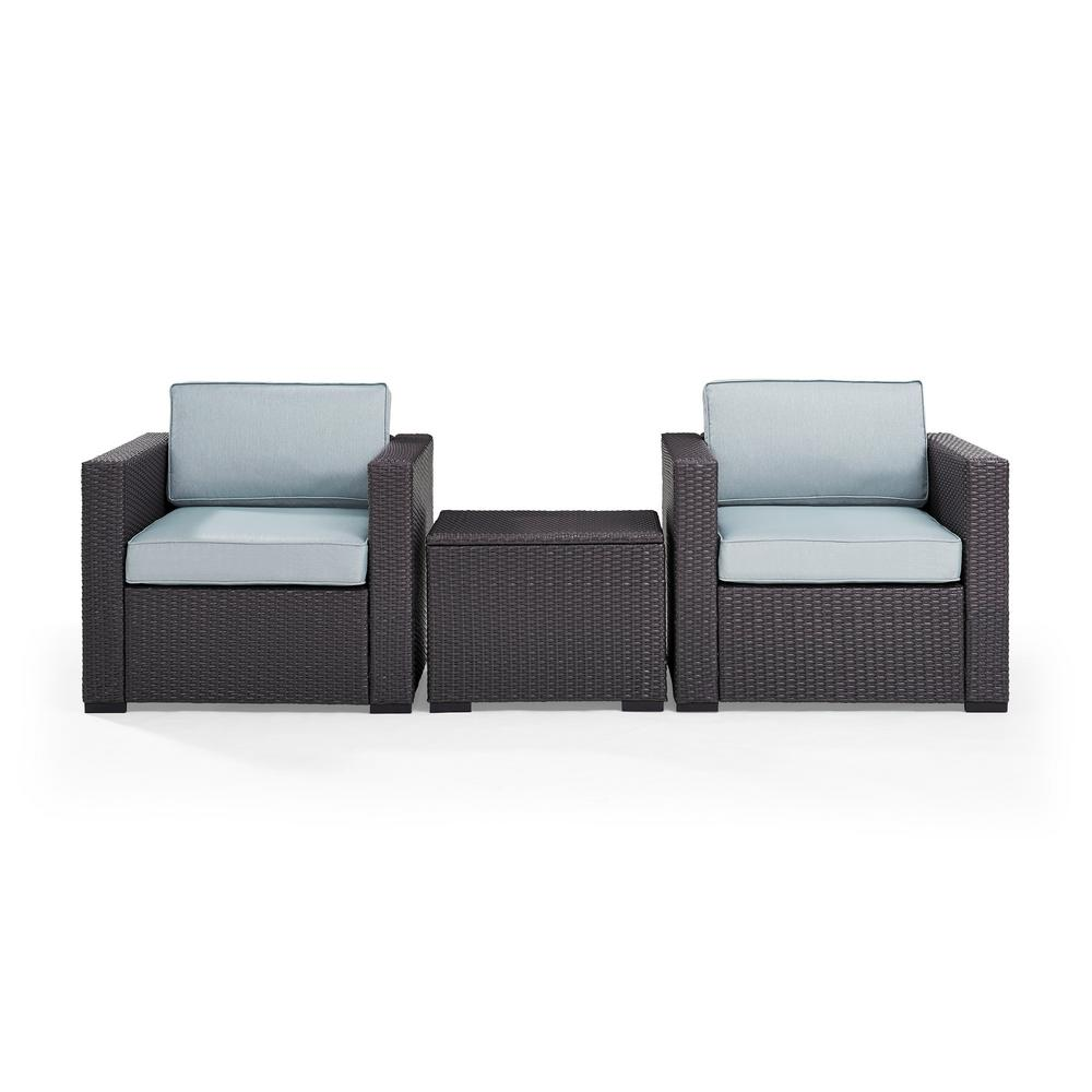 Biscayne 3 Piece Wicker Outdoor Seating Set with Mist Cushions