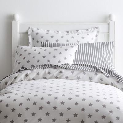 2 x COT BED FITTED SHEET pink grey stars 60x120 cm 70x140 cm PURE COTTON