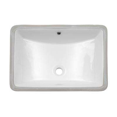 21 in. Undermount Vessel Sink Rectangle White Porcelain Ceramic Lavatory Vanity Bathroom Sink in White