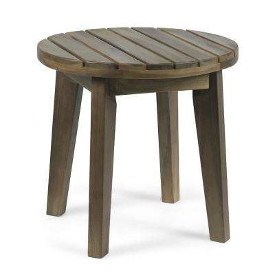 Miracle Gray Round Acacia Wood Outdoor Side Table