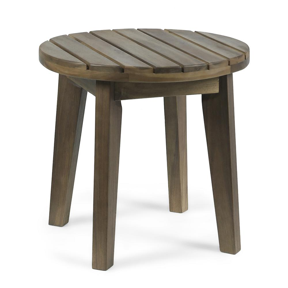 Peachy Noble House Miracle Gray Round Acacia Wood Outdoor Side Table Pabps2019 Chair Design Images Pabps2019Com