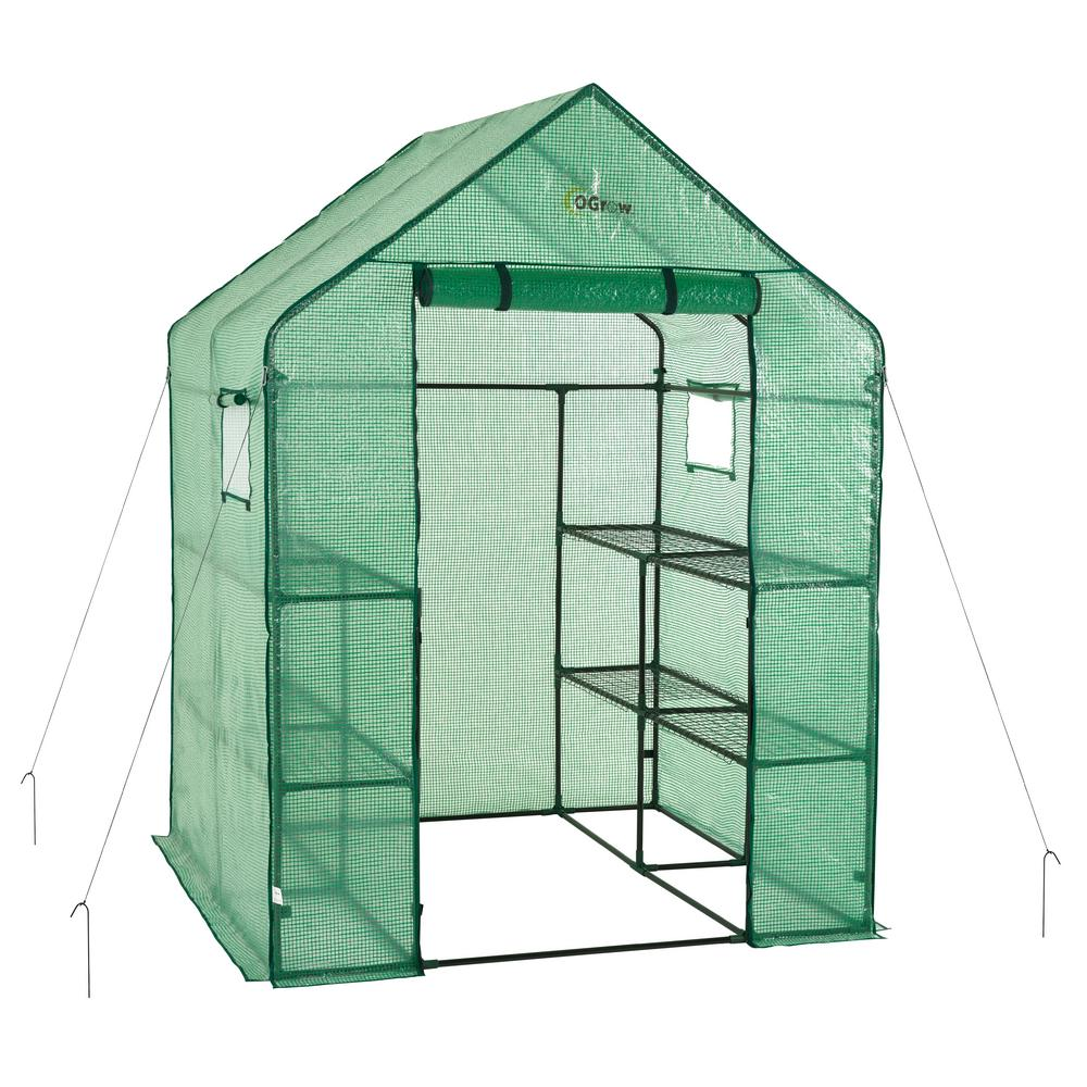 56 in  W x 56 in  D Deluxe Walk-In 2 Tier 8 Shelf Portable Lawn and Garden  Greenhouse