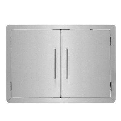 30 in. Stainless Steel Double Face BBQ Grill Double Access Door Panel with Towel Holder