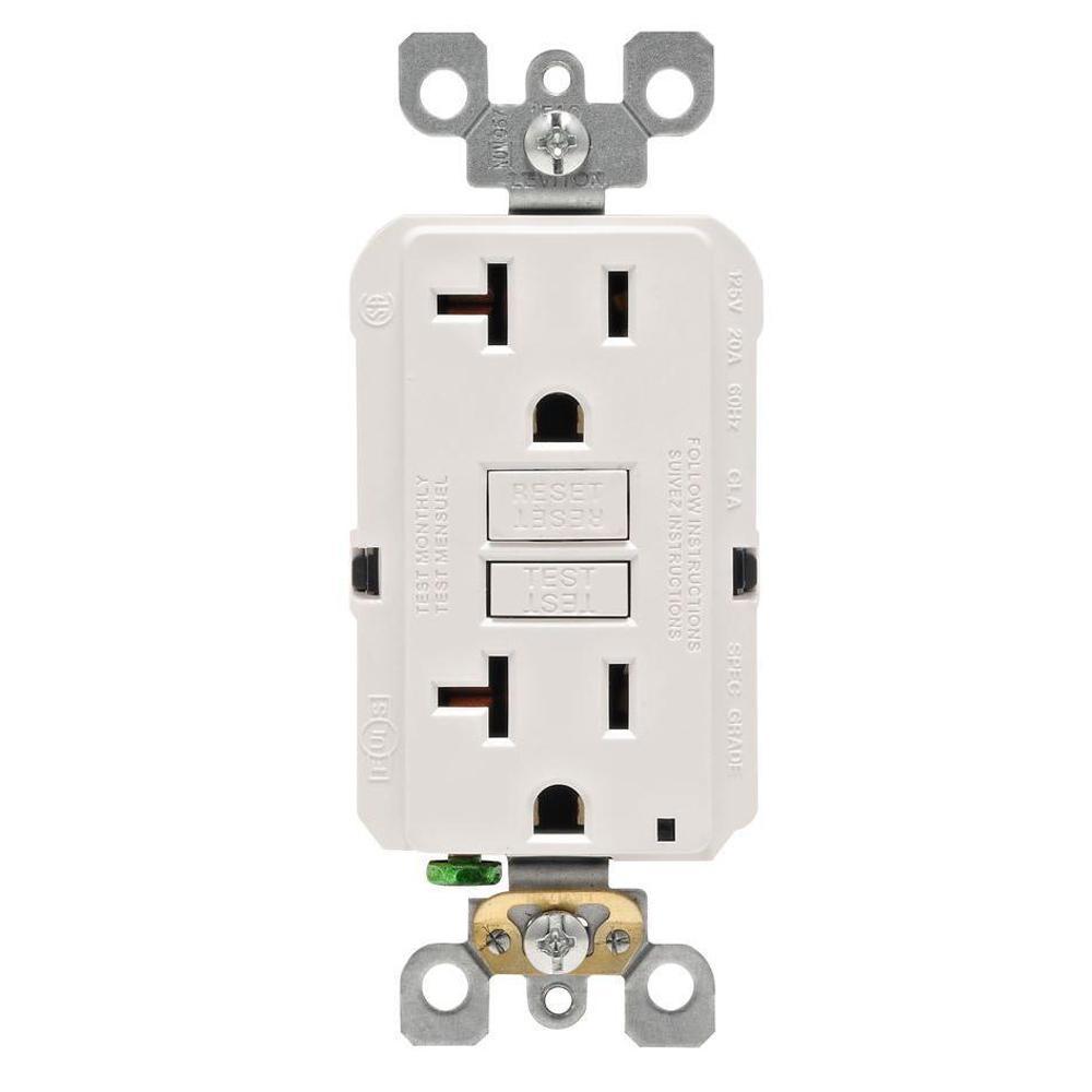 Leviton 20 Amp 125-Volt Duplex Self-Test Slim GFCI Outlet, White (4-Pack)