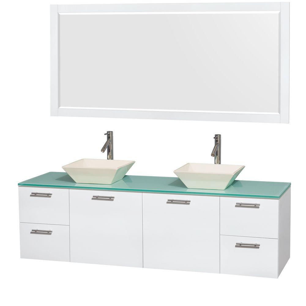 Amare 72 in. Double Vanity in Glossy White with Glass Vanity