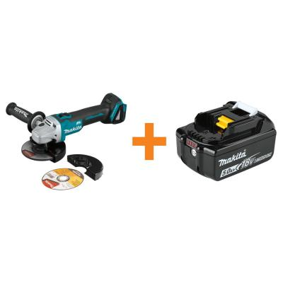 18-Volt LXT Brushless 4-1/2 in./5 in. Cut-Off/Angle Grinder with Electric Brake, BONUS 18-Volt LXT 5.0 Ah Battery