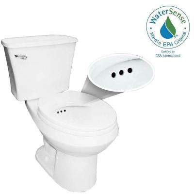 2-piece 1.28 GPF Single Flush Round Toilet with Overflow Protection in White