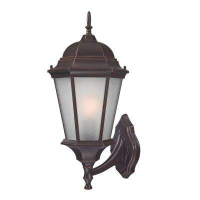 Colonial Coach Wall-Mount 20.25 in. Outdoor Old Bronze Lantern with White Glass Shade