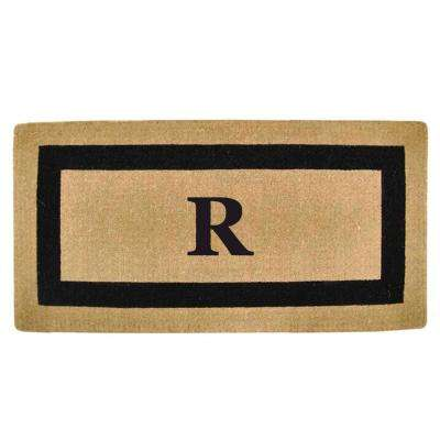 Single Picture Frame Black 36 in. x 72 in. Heavy Duty Coir Monogrammed R Door Mat