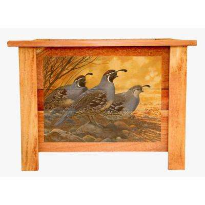 22 in. Cedar Wood Planter Box with Vintage Quail Art