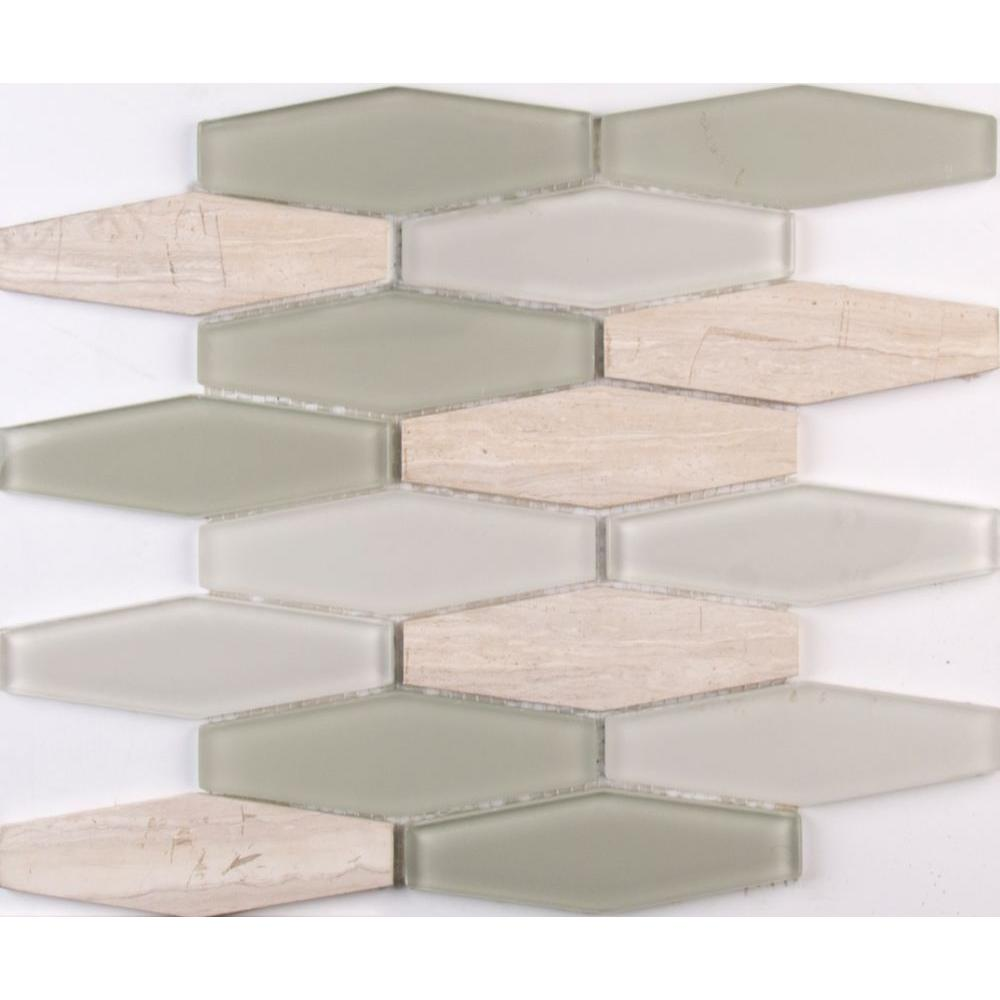 Europa elongated hexagon 12 in x 12 in x 8 mm glass and for Installing glass tile with mesh back