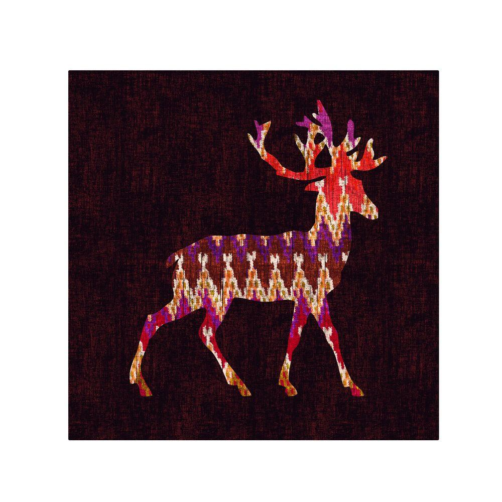 Trademark Fine Art 35 in. x 35 in. Ikat Deer Canvas Art