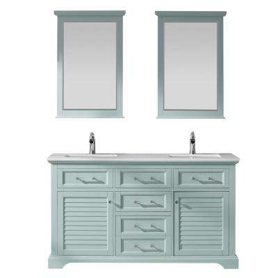 Lorna 60 in. Bath Vanity in Green with Manufactured Stone Vanity Top in White with White Basins and Mirrors