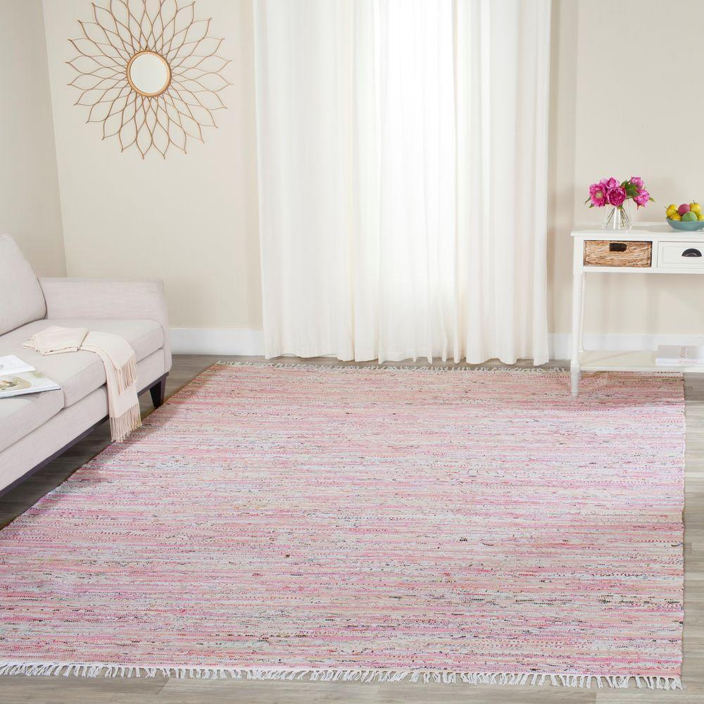 Nuloom Handmade Dotted Trellis Wool Kids Nursery Baby Pink: Safavieh Rag Rug Light Pink/Multi 5 Ft. X 7 Ft. Area Rug
