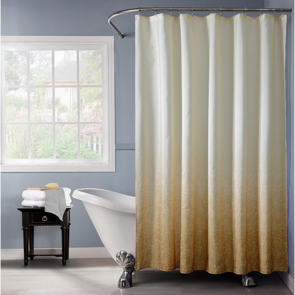 Lace Ombre 72 in. Gold Monochromatic Fabric Shower Curtain