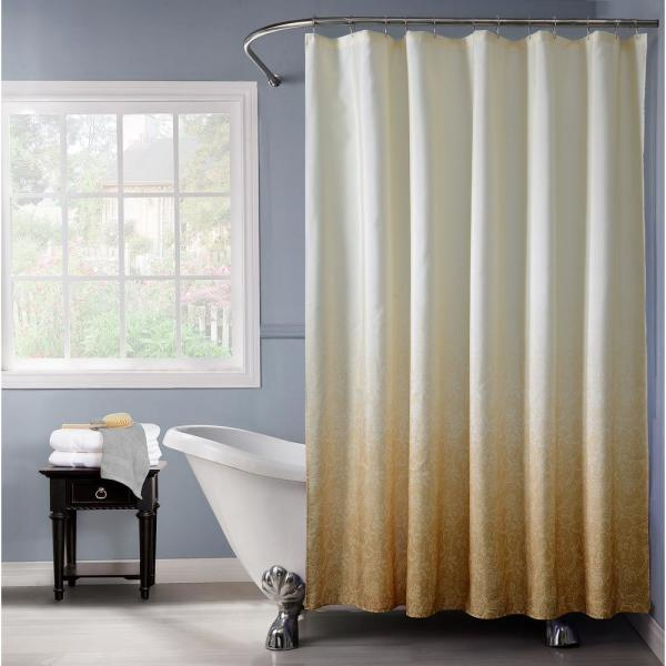Dainty Home Lace Ombre 72 in. Gold Monochromatic Fabric Shower Curtain