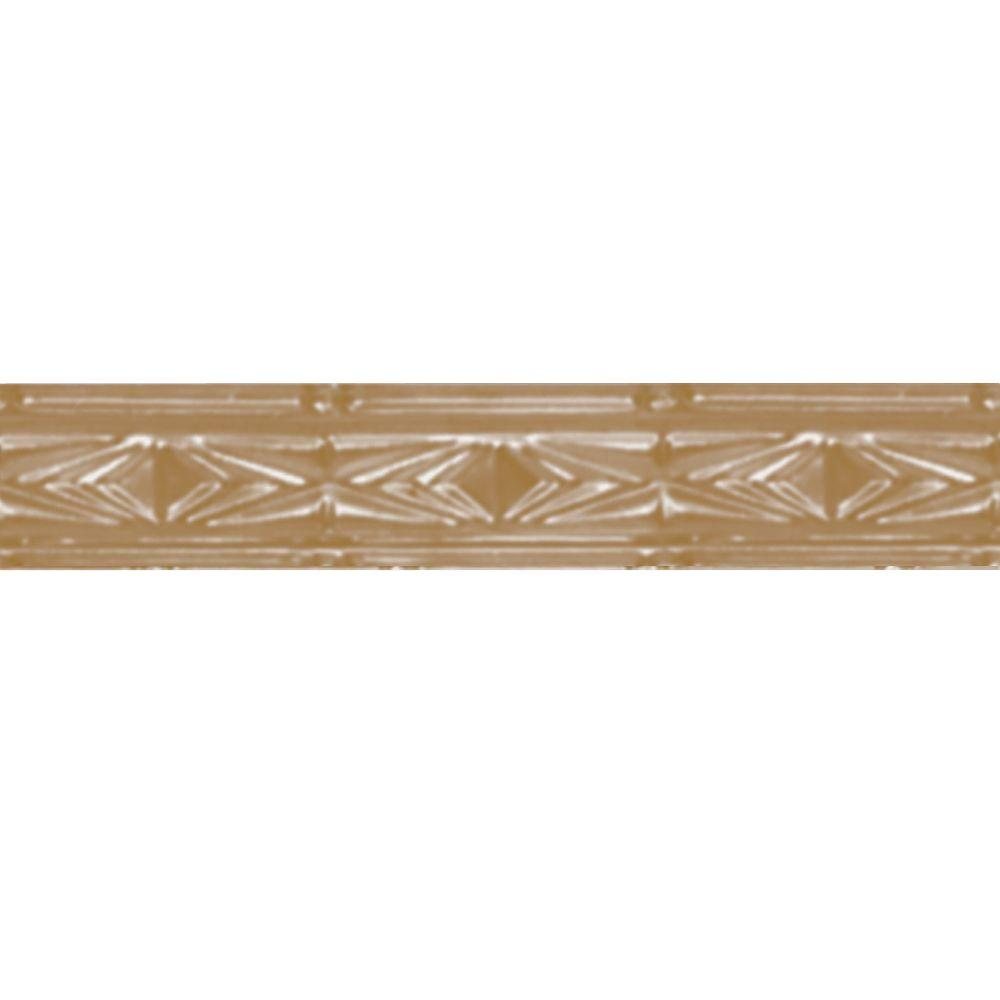 Shanko 3 in. x 4 ft. Satin Brass Nail-up/Direct Applicati...