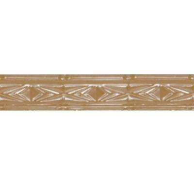 3 in. x 4 ft. Satin Brass Nail-up/Direct Application Tin Ceiling Cornice (6-Pack)