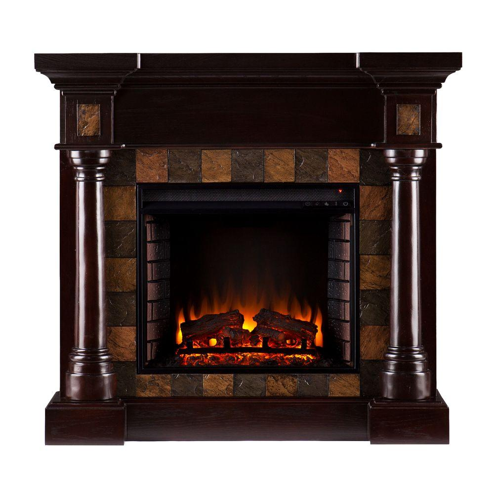 Southern Enterprises Carrington 45 in. Convertible Electric Fireplace in Espresso with Earthtone Slate