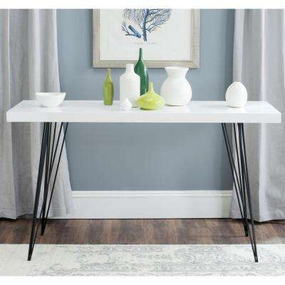 Wolcott White and Black Console Table