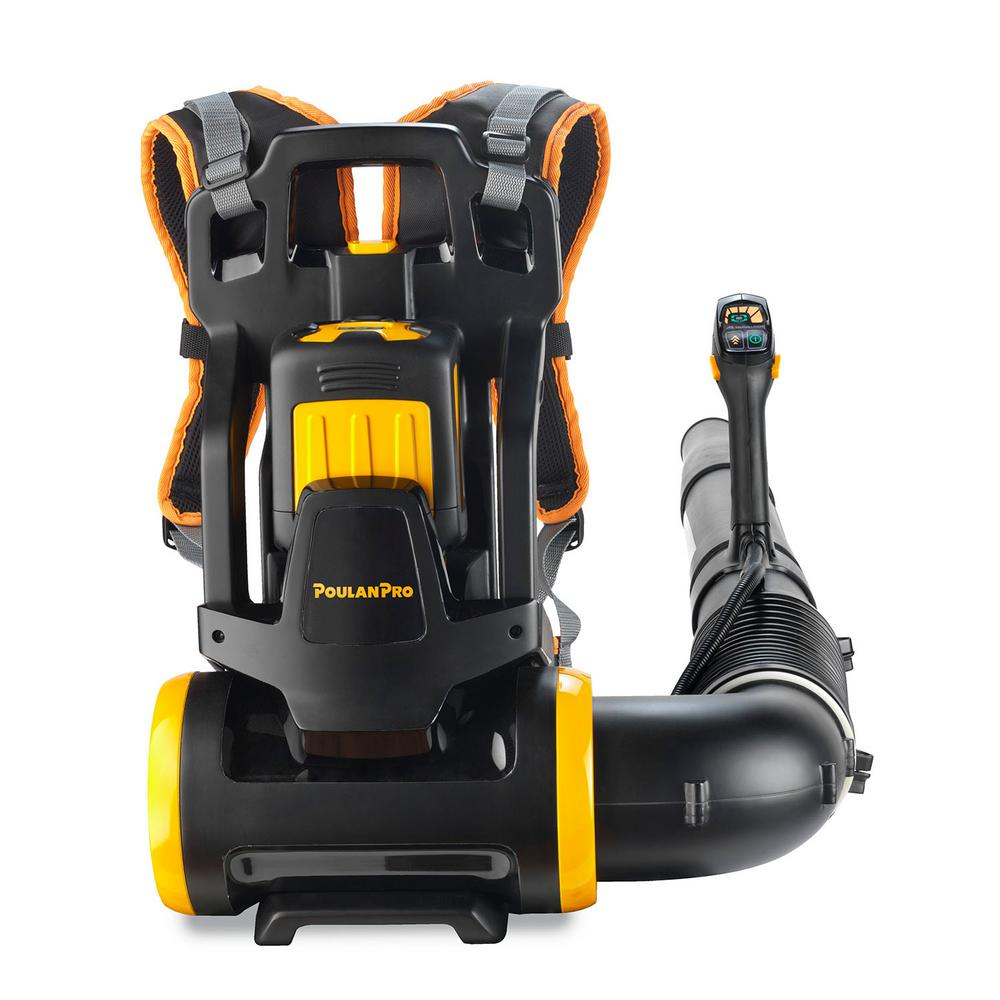 Poulan Pro PRBP675i 150 MPH 675 CFM 58-Volt Lithium-Ion Cordless Backpack Leaf Blower Battery & Charger Included