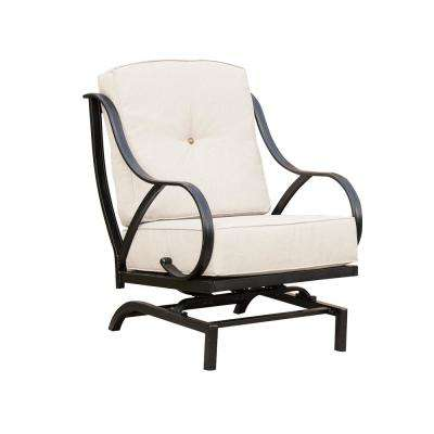 Metal Outdoor Rocking Chair with Beige Cushions