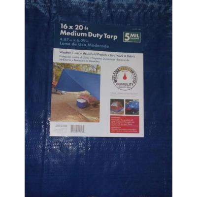 Medium Duty 16' x 20' General Purpose Blue Tarp