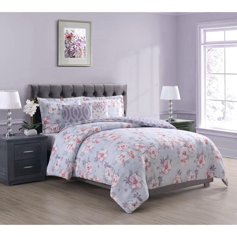 Carmela Home Penelope 5 Piece Grey Purple Pink Queen Comforter Set Ymz008774 The Home Depot