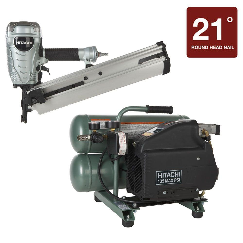 Hitachi 2-Piece 3.5 in. Plastic Strip Framing Nailer and 4 Gal. Portable Twin Stack Air Compressor Kit