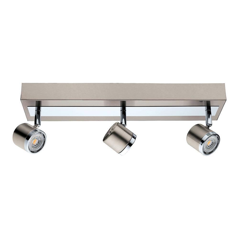 Chrome And Black Track Lighting: EGLO Pierino 1.5 Ft. Satin Nickel And Chrome Integrated