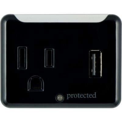 1-Outlet and 1-USB Port 1.0-Amp, 150 Joules Tap - Black