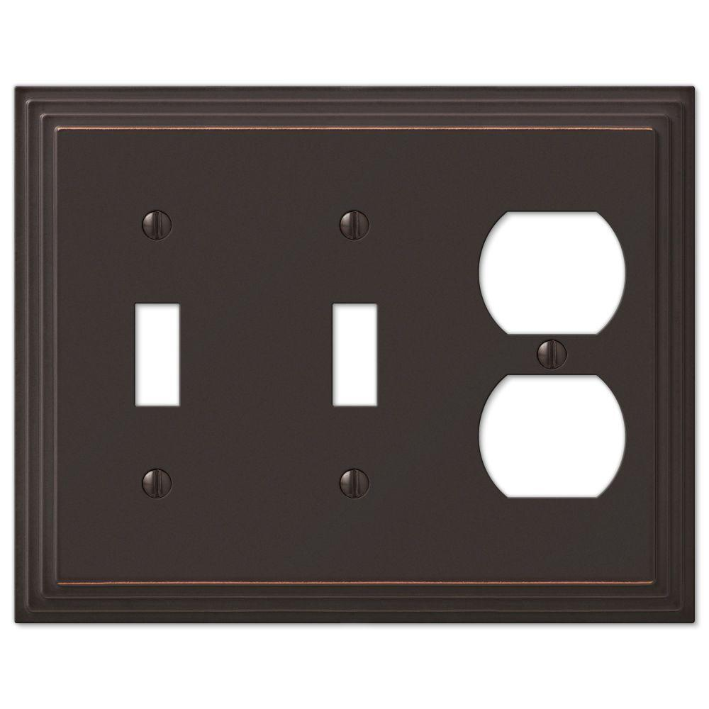 AMERELLE Tiered 3 Gang 2-Toggle and 1-Duplex Metal Wall Plate - Aged Bronze