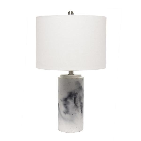 24.25 in. White Marbleized Table Lamp with White Fabric Shade