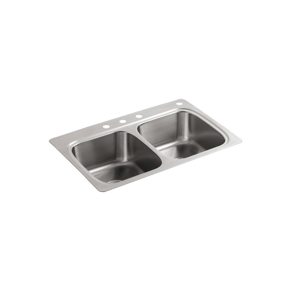 Kohler Verse Drop In Stainless Steel 33 Double Bowl Kitchen Sink With Sous Faucet