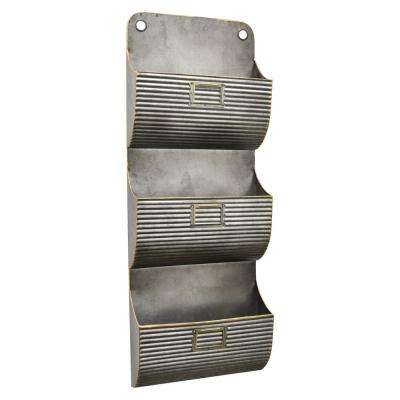32.25 in. Metal Wall Pocket in Gray