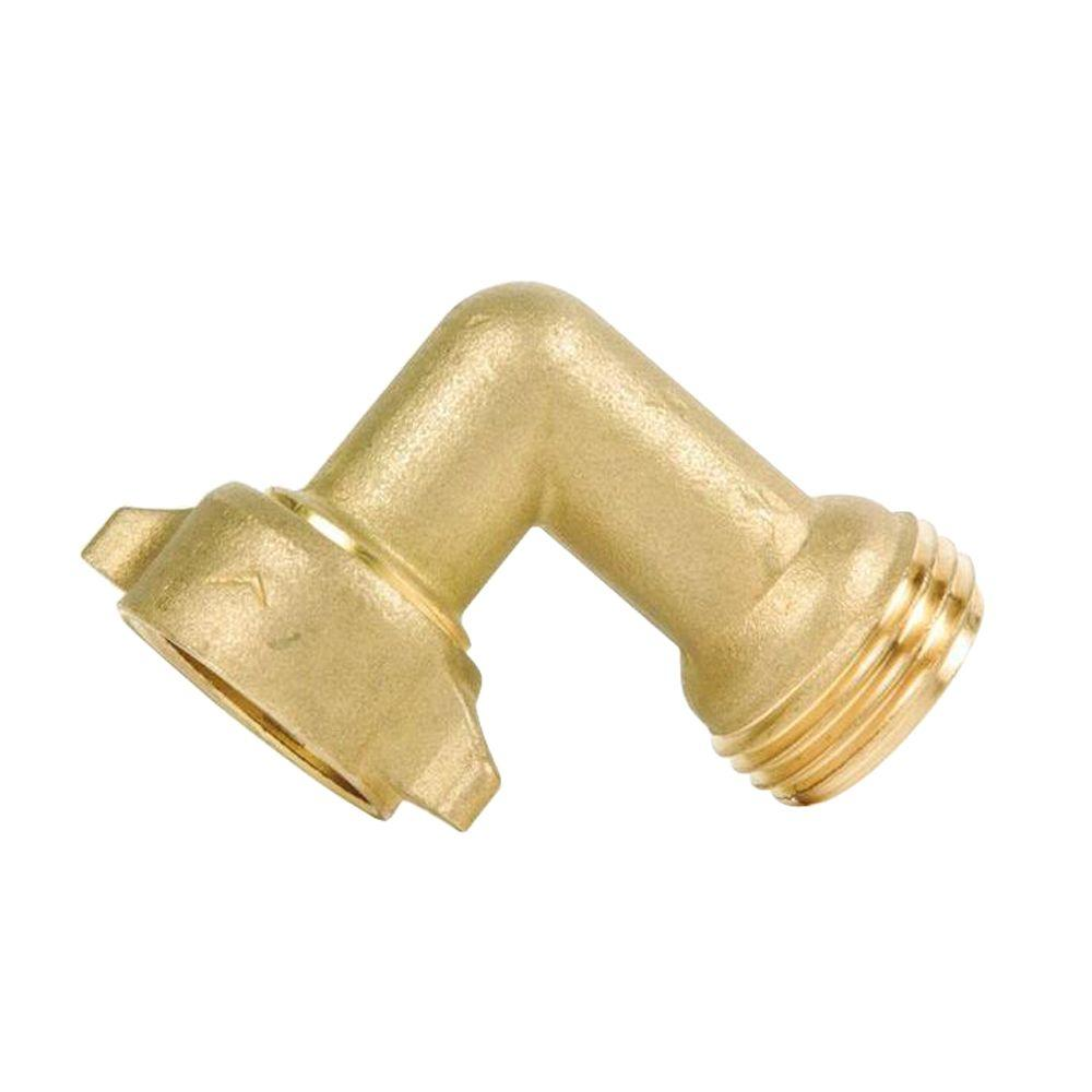 Camco 1 in. Brass 90-Degree Hose Elbow with Gripper