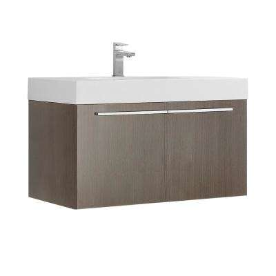 Vista 36 in. Modern Wall Hung Bath Vanity in Gray Oak with Vanity Top in White with White Basin