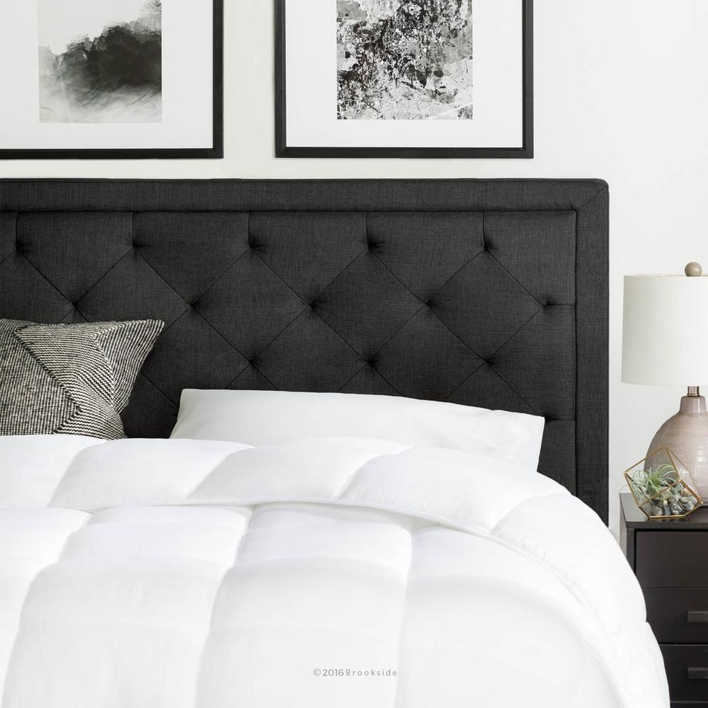Brookside Upholstered Charcoal Queen With Diamond Tufting Headboard Bsqqredtchhb The Home Depot