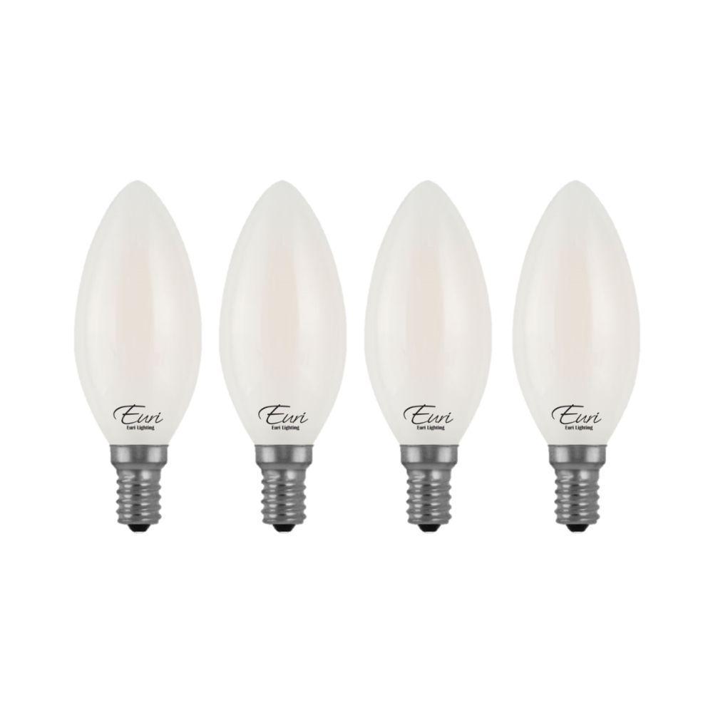 Pack of 6 60 Watt Eqivalent Small Base CTC B11 Straight Tip E12 - 2700K 6 Watt LED Edison Filament - 120V Dimmable LED Candelabra Chandelier Light Bulb Warm White Glow