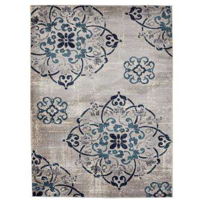 Jasmin Collection Contemporary Medallion Design Gray and Ivory 7 ft. 10 in. x 9 ft. 10 in. Area Rug