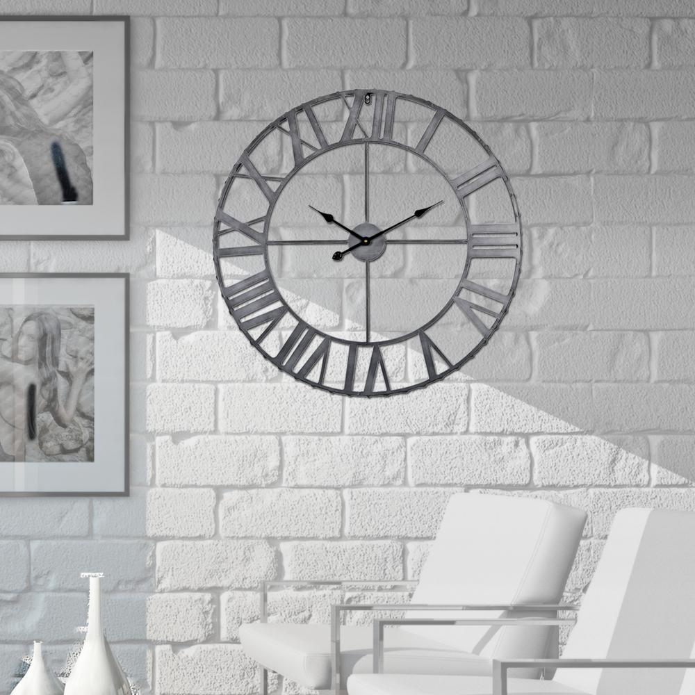 Roman Rivet Edge Pewter 24 in. Antique Bronze Industrial Wall Clock
