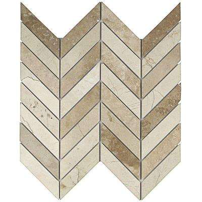 Dart Crema Marfil and Travertine 10-3/4 in. x 10-3/4 in. x 10 mm Polished Marble Mosaic Tile