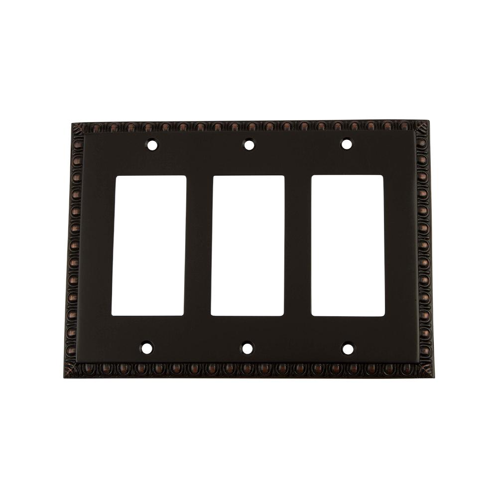 Egg and Dart Switch Plate with Triple Rocker in Timeless Bronze