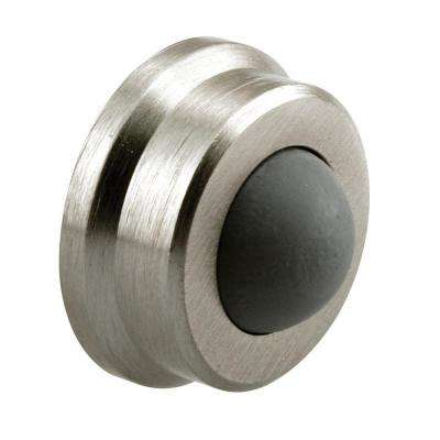 1 in. Brushed Chrome Door Wall Stop with Rubber Bumper