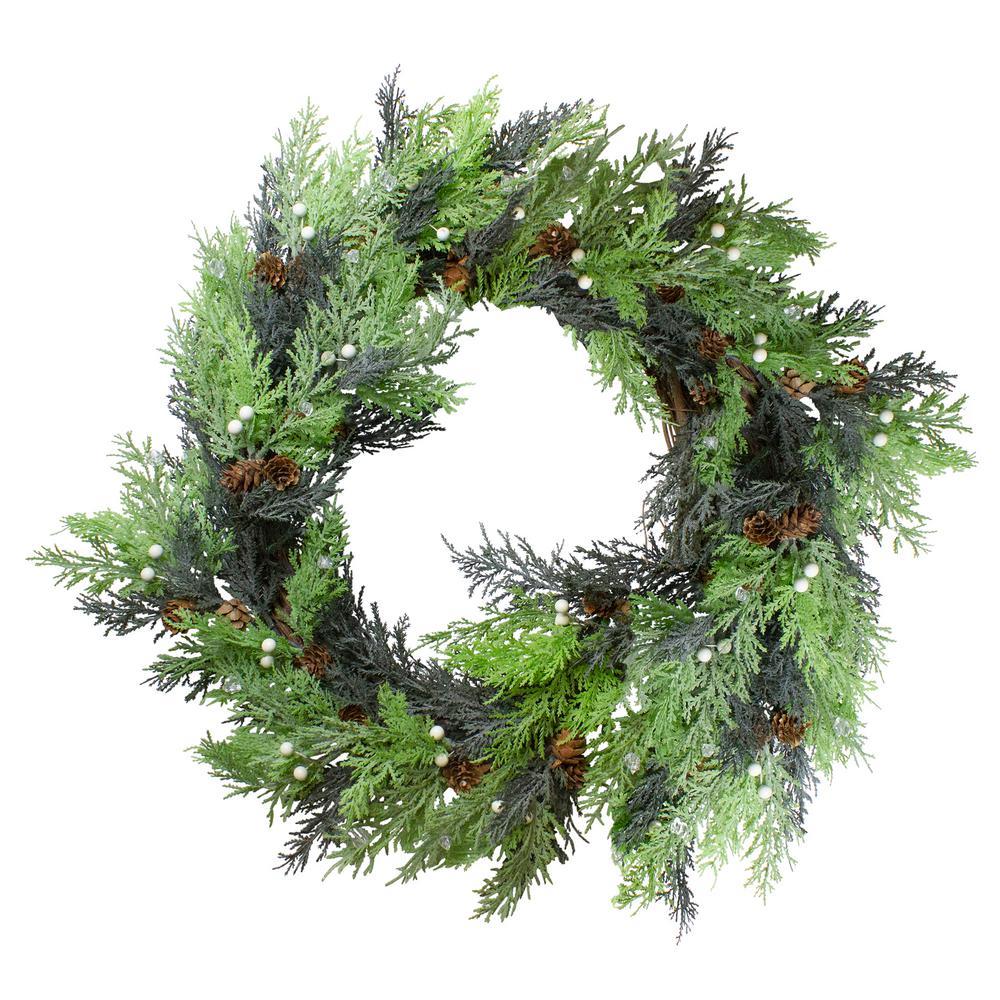 "4""H x 24""W Unlit Berry Cedar and Pine Cone Artificial Christmas Wreath"