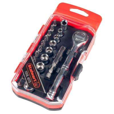 Ratchet, Metric Socket and Bit Set (23-Piece)